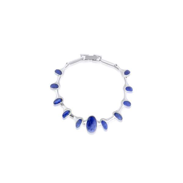 925 Blue Lapis Lazuli Sterling Silver Bracelet with Toggle Clasp