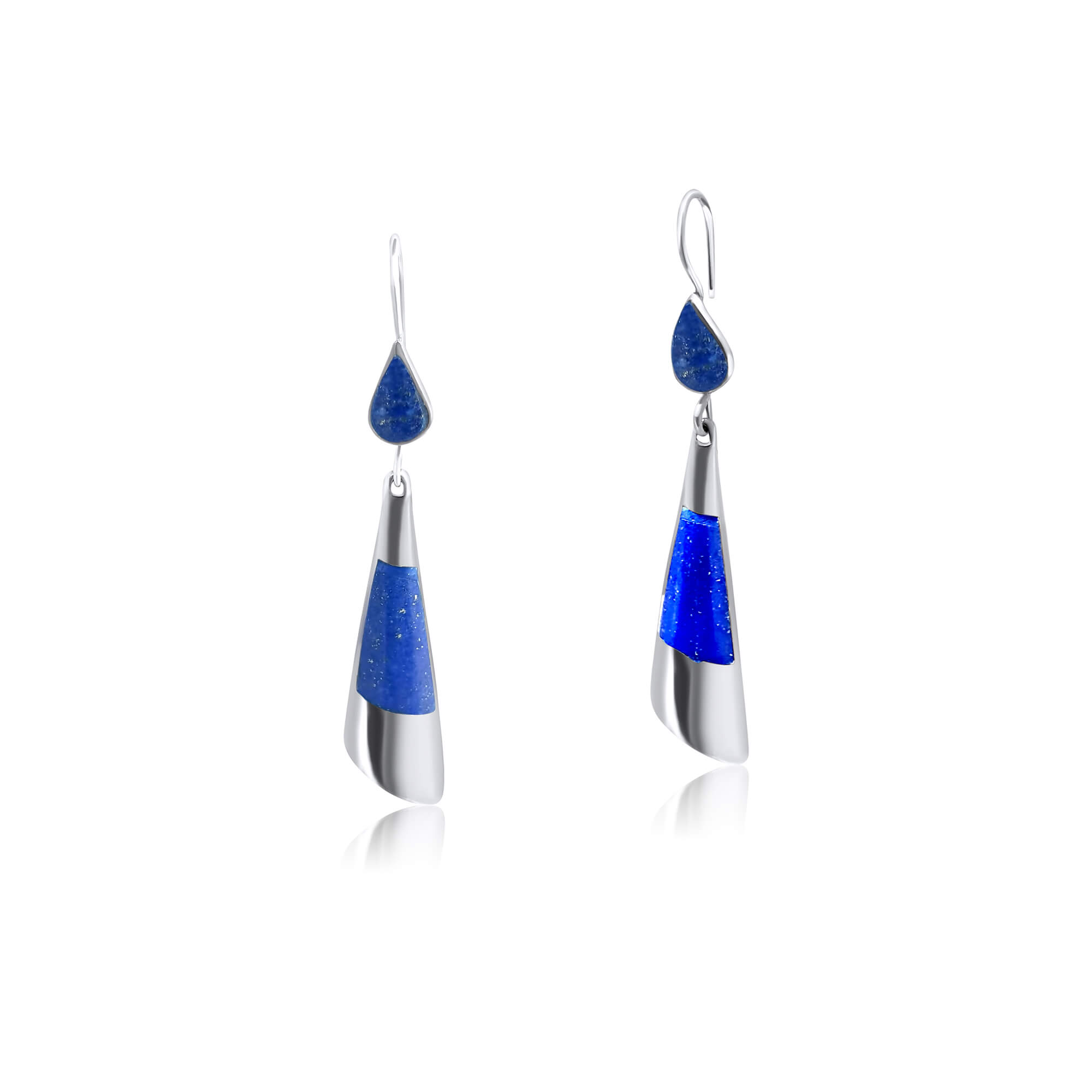 925 Blue Lapis Lazuli Sterling Silver Dangle Earrings