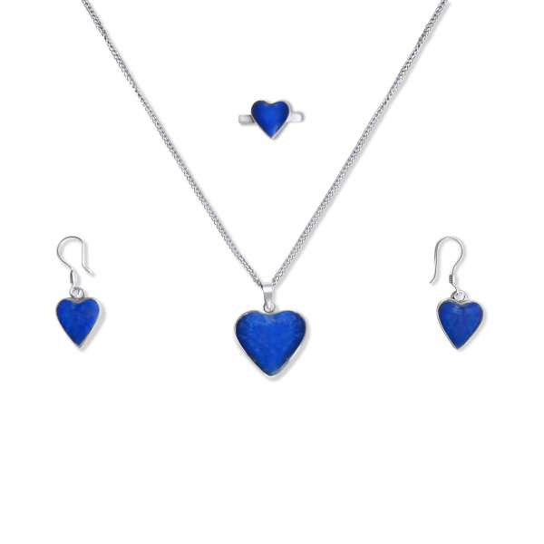 925 Blue Lapis Lazuli Sterling Silver Heart Shaped Jewelry Set