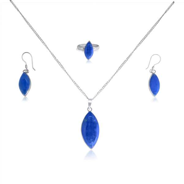 925 Blue Lapis Lazuli Sterling Silver Marquise Shaped Jewelry Set
