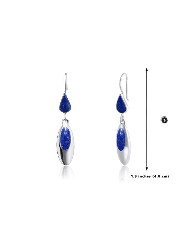 925 Blue Lapis Lazuli Sterling Silver Oval Shape Earrings 3