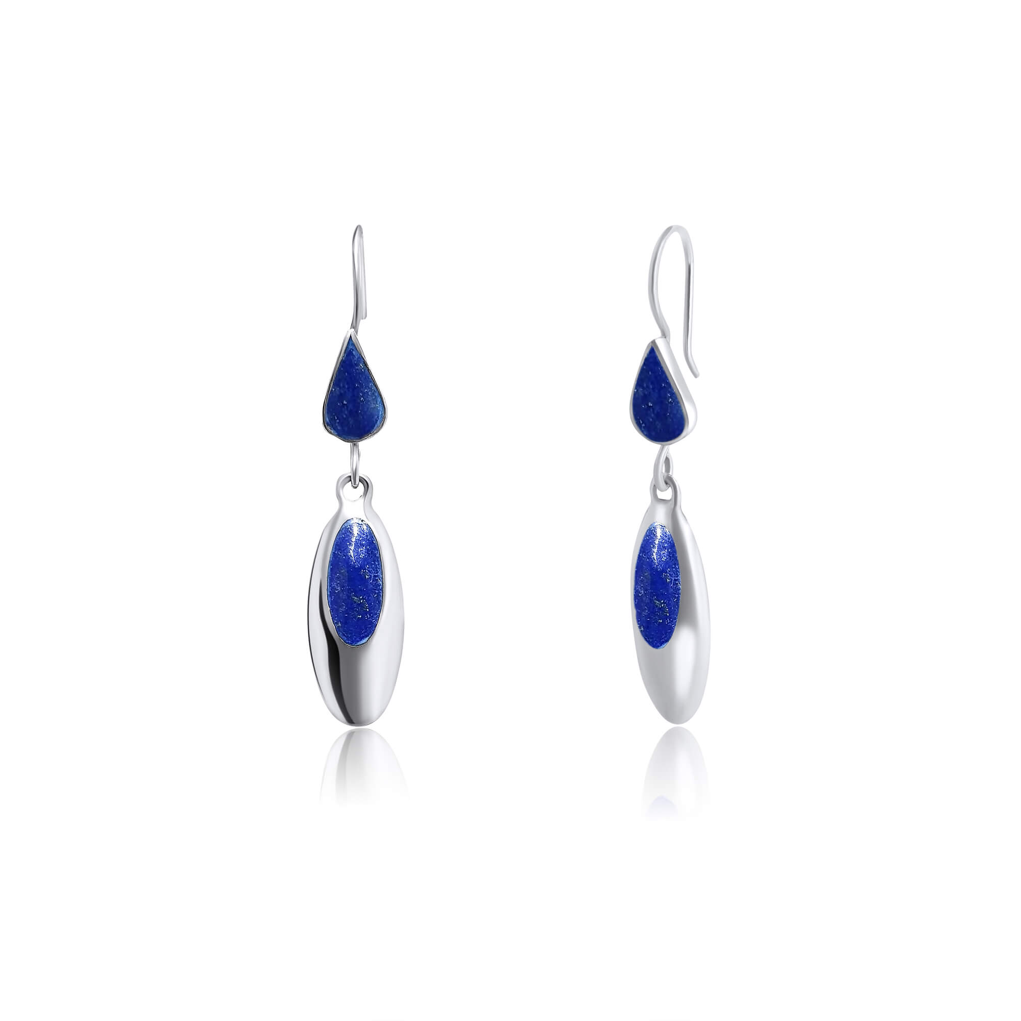 925 Blue Lapis Lazuli Sterling Silver Oval Shape Earrings