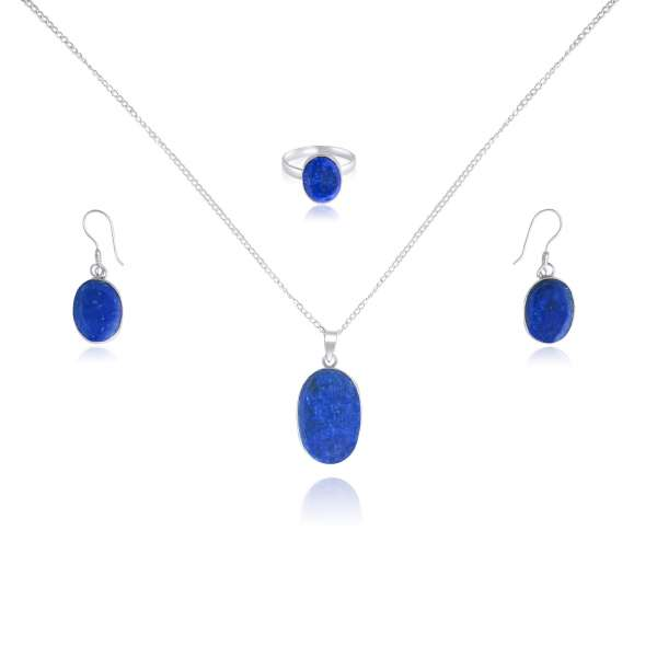 925 Blue Lapis Lazuli Sterling Silver Oval Shaped Jewelry Set