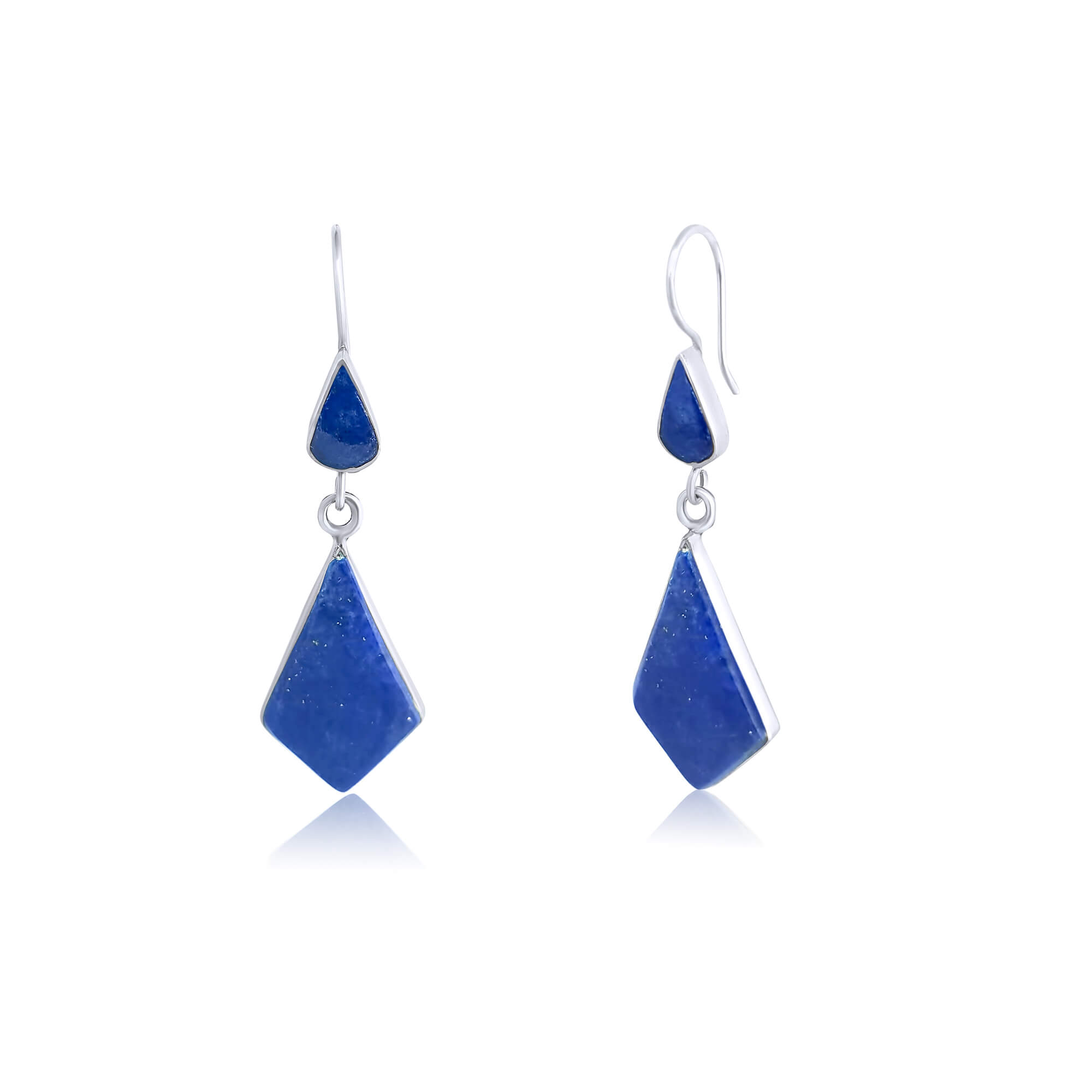 925 Blue Lapis Lazuli Sterling Silver Rhombus Shape Earrings