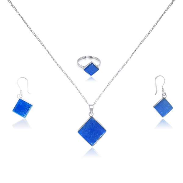 925 Blue Lapis Lazuli Sterling Silver Square Shaped Jewelry Set