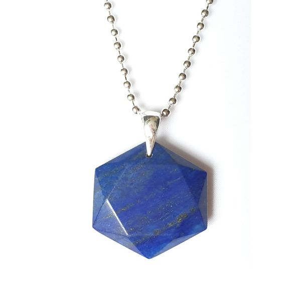 Blue Hexagonal Crystal Pendant Necklace