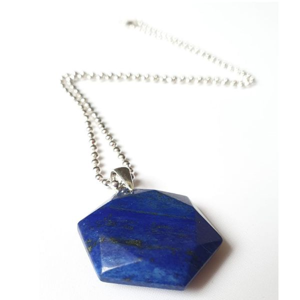 Blue Hexagonal Crystal Pendant Necklace 2