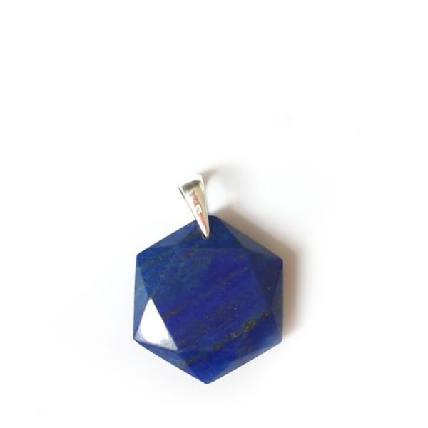 Blue Hexagonal Crystal Pendant Necklace 3