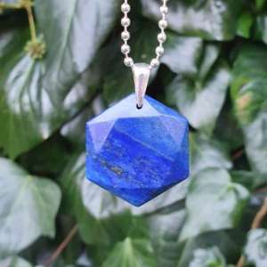 Blue Hexagonal Crystal Pendant Necklace 5