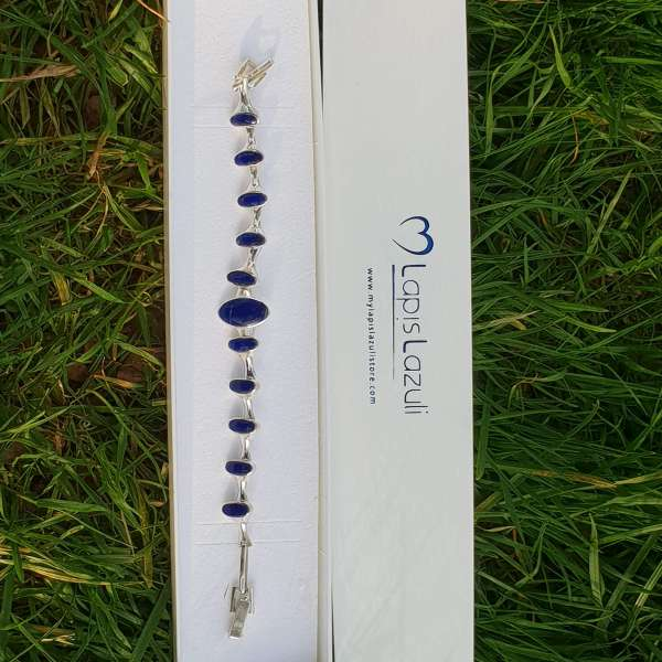 Blue Lapis Lazuli Sterling Silver Bracelet with Toggle Clasp