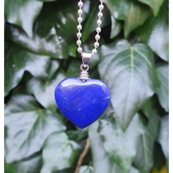 Natural Lapis Lazuli Gemstone Heart Pendant Necklace 2