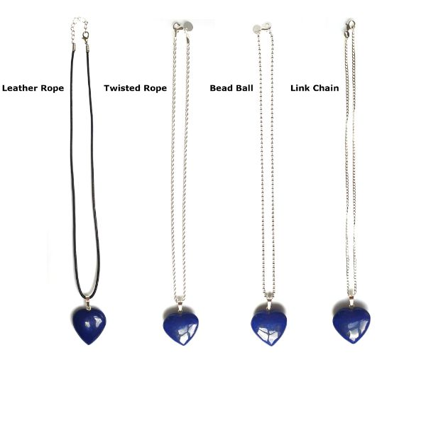 Natural Lapis Lazuli Gemstone Heart Pendant Necklace 3
