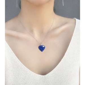 Natural Lapis Lazuli Gemstone Heart Pendant Necklace 4