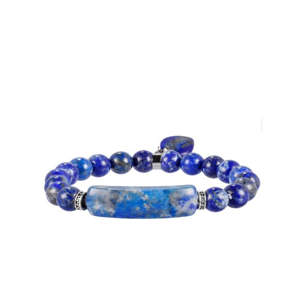 Natural Stone Lapis Lazuli Beads Bracelet With Heart Pendant